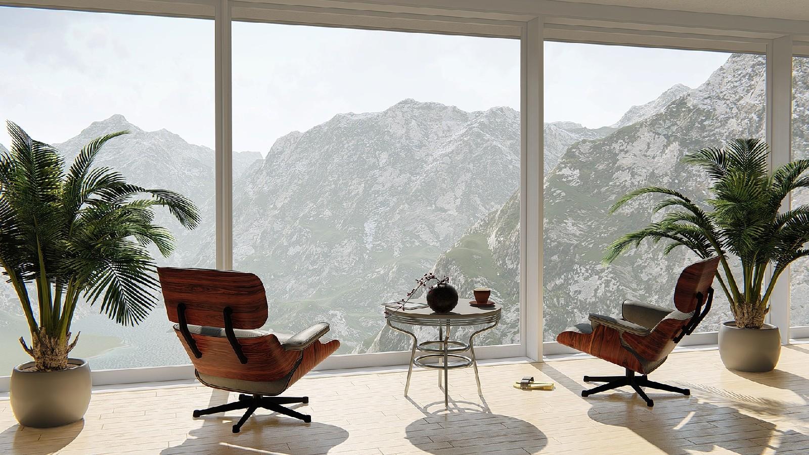 Nowoczesne wnętrza ze ścianami okien